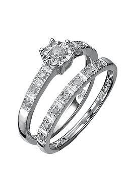 Love DIAMOND Love Diamond Sterling Silver 13 Point Diamond Bridal Set Picture