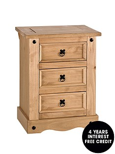 corona-solid-pine-3-drawer-bedside-chest