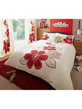 Candice Duvet Cover And Pillowcase Set  IvoryRed (Twin Pack)