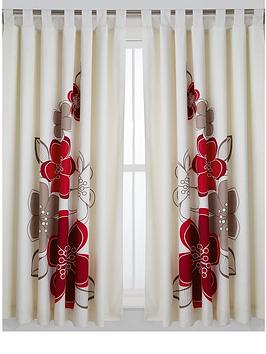 Candice Lined Tab Top Curtains  IvoryRed