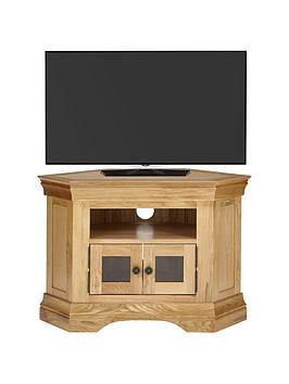 Luxe Collection  Constance Oak Ready Assembled Corner Tv Unit  Fits Up To 50 Inch Tv