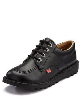 ee502123ab308d Kickers Leather Lace-up Kick Lo Core School Shoes - Black ...