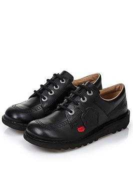Kickers Kickers Leather Lace-Up Kick Lo Core School Shoes - Black Picture