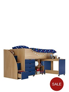kidspace-milo-mid-sleeper-kids-bed-frame-with-storage-steps-and-optional-mattress