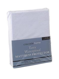 cascade-home-terry-waterproof-mattress-protector-23cm-depth