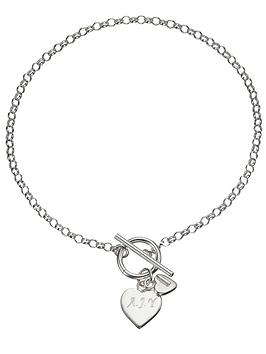 The Love Silver Collection Personalised Sterling Silver Double Heart Drop TBar Bracelet