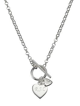 The Love Silver Collection Personalised Sterling Silver Double Heart Drop TBar Necklace