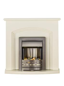 Adam Fires & Fireplaces   Truro Electric Fireplace Suite With Brushed Steel Inset Fire