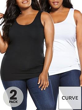 v-by-very-curve-longline-slim-fit-vests-2-pack-blackwhite