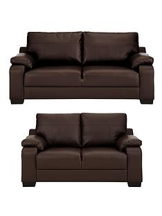 Dino 3 Seater 2 Faux Leather Compact Sofa Set And Save