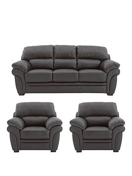 Very Portland Leather 3 Seater Sofa + 2 Armchairs (Buy And Save!) Picture