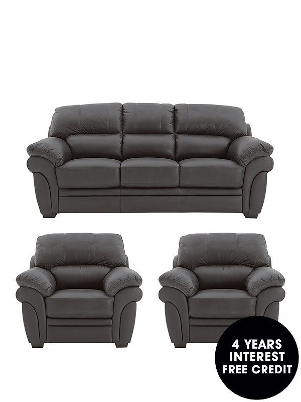 Portland Leather 3 Seater Sofa + 2 Armchairs (Buy and SAVE!)