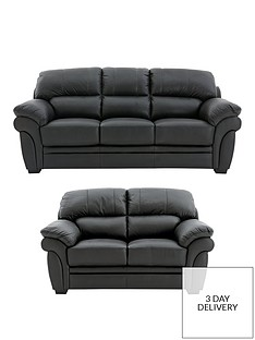 Portland 3 Seater + 2 Seater Leather Sofa (Buy and SAVE ...