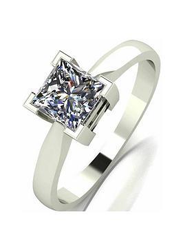 Moissanite Moissanite 9 Carat White Gold Princess Cut 105Pt Equivalent Ring Picture