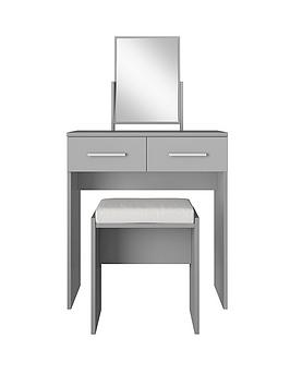 Prague High Gloss Dressing Table Stool and Mirror Set
