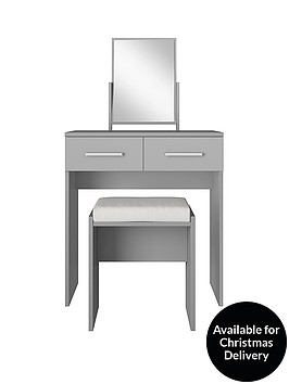Prague Gloss Dressing Table Stool And Mirror Set Littlewoodscom - Black gloss dressing table
