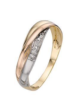 Love GOLD Love Gold 9 Carat 3 Colour Gold 1Pt Diamond Set Ladies  ... Picture