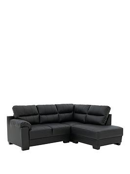 Very Saskia Leather/Faux Leather Right Hand Compact Corner Chaise Sofa Picture