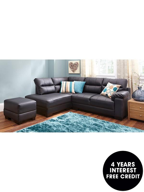 Left Hand Compact Corner Chaise Sofa