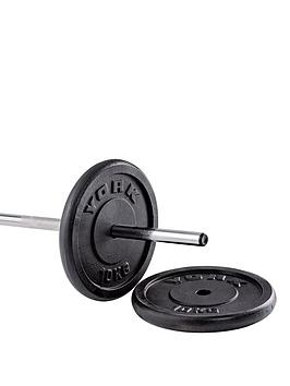york-2-x-10kg-black-cast-iron-1-inch-plates