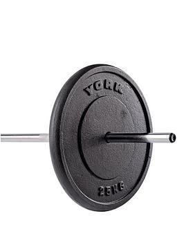 york-1-x-25kg-black-cast-iron-1-inch-plates