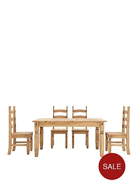 corona-solid-pine-dining-table-and-set-of-4-chairs