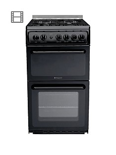hotpoint-newstylenbsphagl51k-50cm-twin-cavity-gas-cooker-with-fsd-black