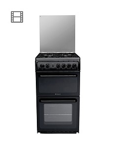 hotpoint-hagl51k-50cm-twin-cavity-gas-cooker-with-fsd-black