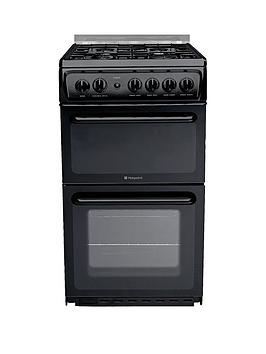 Hotpoint Hagl51K 50Cm Twin Cavity Gas Cooker With Fsd  Black