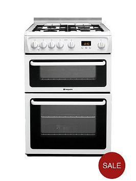 hotpoint-hagl60p-60cm-double-oven-gas-cooker-with-fsd-white