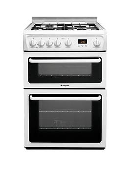 Hotpoint Hagl60P 60Cm Double Oven Gas Cooker With Fsd  White