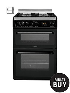 hotpoint-hagl60k-60cm-double-oven-gas-cooker-with-fsd-black