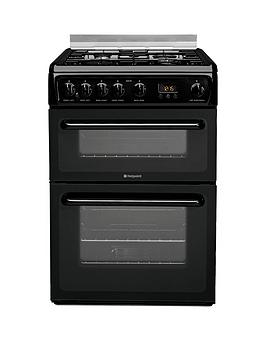 Hotpoint Hagl60K 60Cm Double Oven Gas Cooker With Fsd  Black