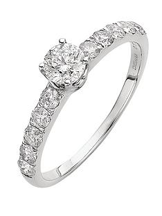 Love DIAMOND 9 Carat White Gold 1 Diamond Solitaire And Set Shoulders Ring