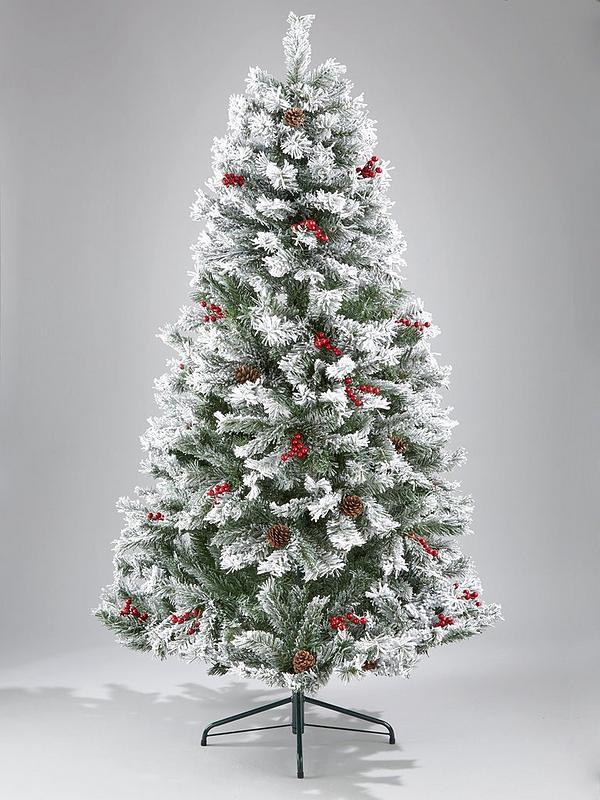 Snowy Christmas Tree.Bavarian Pine Christmas Tree With Snow 6ft