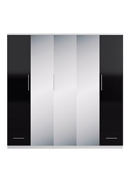 Very Cologne Gloss 5-Door, 2-Drawer Mirrored Wardrobe Picture