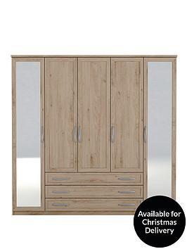 texas-5-door-3-drawer-mirrored-wardrobe