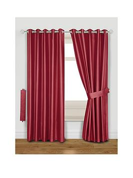 Very Faux Silk Blackout Thermal Eyelet Curtains With Tie-Backs Picture