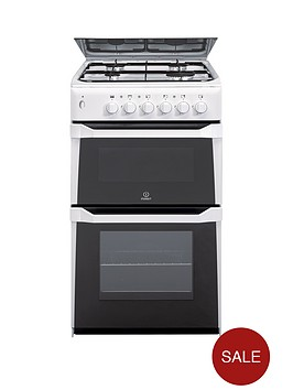 indesit-itl50gw-50cm-twin-cavity-gas-cooker-with-fsd-white