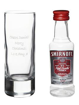 Very Personalised Shot Glass With Miniature Vodka Picture
