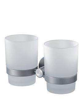 Aqualux Aqualux Haceka Kosmos Double Glass Beaker And Chrome Holder Picture