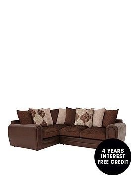 Monico floral left hand double arm corner group sofa for Sofa 0 interest free credit