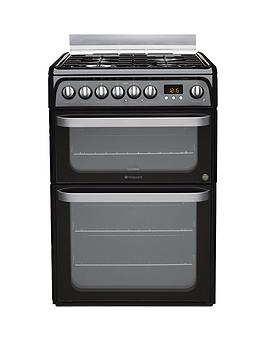 Hotpoint Ultima Hud61Ks 60Cm Double Oven Dual Fuel Cooker With Gas Hob  Black