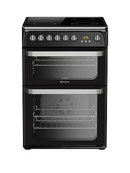 Hotpoint Ultima Hue61Ks 60Cm Double Oven Electric Cooker With Ceramic Hob  Black