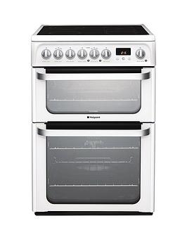 Hotpoint Ultima Hue61Ps 60Cm Double Oven Electric Cooker With Ceramic Hob  White