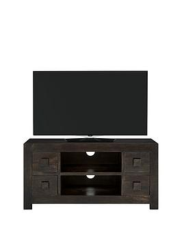 Luxe Collection  Dakota Mango Wood Ready Assembled Widescreen Tv Unit  Fits Up To 50 Inch Tv