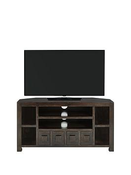 Luxe Collection  Dakota Mango Wood Ready Assembled Corner Tv Unit  Fits Up To 44 Inch Tv