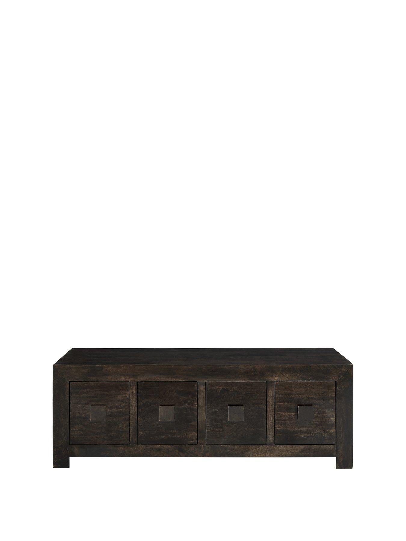 Luxe Collection   Dakota Mango Wood Ready Assembled 8 Drawer Coffee Table |  Littlewoods.com