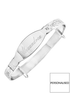 the-love-silver-collection-sterling-silver-babiesnbspceltic-diamond-set-personalised-id-expander-bangle
