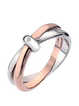 Hot Diamonds  Eternity Sterling Silver And 18 Carat Gold Vermeil Diamond Set Interlocking Ring